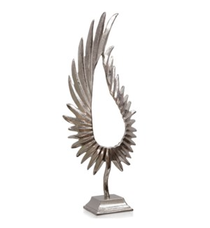 NICKEL PLATED LEAFLET LARGE | 12in w. X 31in ht. X 6in d. | Feathered Metal Sculpture on Platform Ba