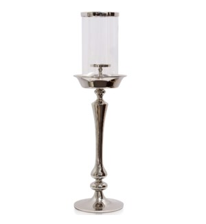 CHROME CANDLE PILLAR SMALL | 8in w. X 33in ht. X 8in d. | Metal Candle Stick with Clear Glass Cylind