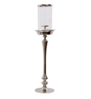 CHROME CANDLE PILLAR MEDIUM | 9in w. X 37in ht. X 9in d. | Metal Candle Stick with Clear Glass Cylin