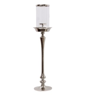 CHROME CANDLE PILLAR LARGE | 8in w. X 40in ht. X 8in d. | Metal Candle Stick with Clear Glass Cylind