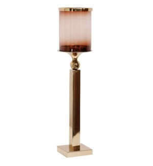 BRASS CANDLE PILLAR SMALL | 7in w. X 28in ht. X 7in d. | Metal Candle Stick with Heat Tinted Glass C
