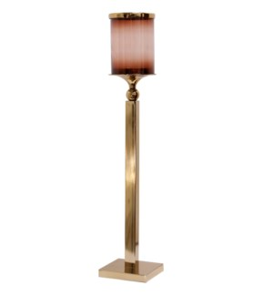 BRASS CANDLE PILLAR LARGE | 7in w. X 36in ht. X 7in d. | Metal Candle Stick with Heat Tinted Glass C