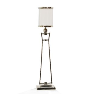 CHROME METAL LARGE | 8in w. X 34in ht. X 4in d. | Metal Stand Candle Holder with Clear Glass Cylinde