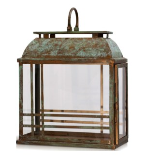 PATINA LANTERN SMALL | 15in w. X 21in ht. X 7in d. | Antique Copper Metal Accessory Lantern with Cle