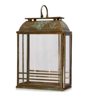 PATINA LANTERN LARGE | 15in w. X 24in ht. X 7in d. | Antique Copper Metal Accessory Lantern with Cle