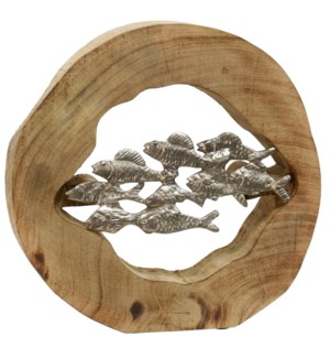 HOLLOW FISH SCHOOL | 11in X 12in X 3in | Natural Wood Sculpture with Painted Silver Fish Motif | Mad