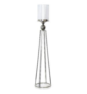 ALUMINUM AND CLEAR GLASS ONE LIGHT CANDLE HOLDER STAND - | LARGE |