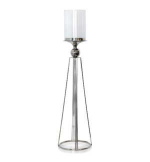 ALUMINUM AND CLEAR GLASS ONE LIGHT CANDLE HOLDER STAND - | MEDIUM |