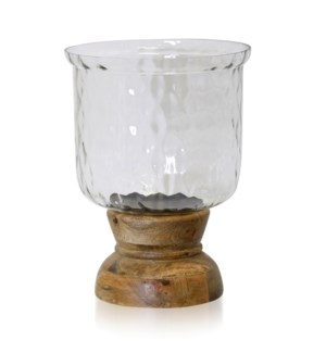 NATURAL WOOD & HAMMERED GLASS   Wood & Crystal Design Glass One Light Hurrican Candle Holder   Large