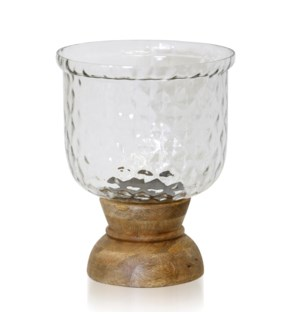 NATURAL WOOD & HAMMERED GLASS   Wood & Crystal Design Glass One Light Hurrican Candle Holder   Small