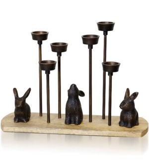 NATURAL WOOD & ANTIQUE BROWN   Iron & Wood Woodland Figurine Six Tea Light Candle Holder   6in w X 1