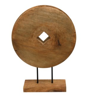Native Wheel | 16in X 5in X 21in Natural Wood Table Top Carved Sculpture