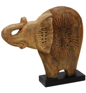 Native Elephant | 20in X 4in X 17in Natural Wood Table Top Carved Sculpture