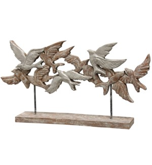 NATIVE FLOCK | 15in X 4in X 28in | Natural Wood Table Top Carved Sculpture | Made in India