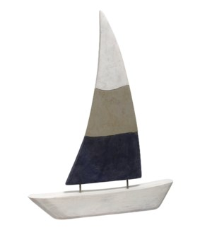 NATIVE SAIL LARGE | 20in X 2in X 27in Natural Wood Table Top Carved Sculpture | Made in India