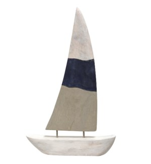 NATIVE SAIL SMALL | 16in X 2in X 19in Natural Wood Table Top Carved Sculpture | Made in India