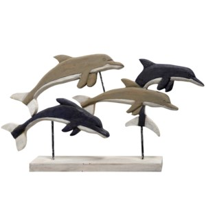 NATIVE DOLPHINS | 33in X 4in X 18in | Natural Wood Table Top Carved Sculpture | Made in India