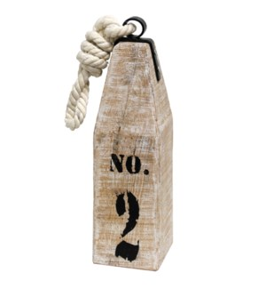 COASTAL BUOY  | 5in X 5in X 26in | Painted White Wash Natural Wood with Rope Tie Accessory | Made in