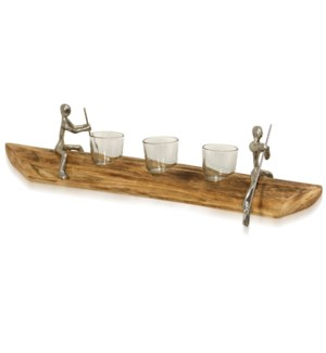 TEA LIGHT TANDEM | 22in w X 4in ht X 3in d | Natural Carved Wood Canoe with Paddling Pewter Figurine