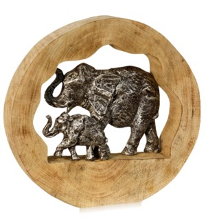 ELEPHANT GENERATIONS I | 14in ht X 14in w X 3in d | Natural Carved Wood Table Top Accessory with Pew