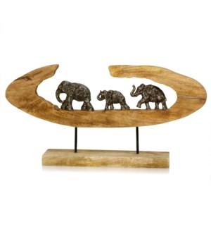 ELEPHANT GENERATIONS II | 13in ht X 27in w X 4in d | Natural Carved Wood Table Top Accessory with Pe