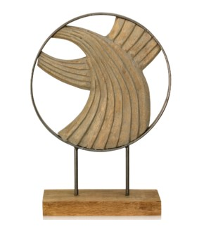 LAYERED WAVES I | 17in ht X 12in w X 4in d | Natural Carved Wood Table Top Accessory with Wave Desig