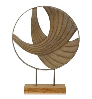 LAYERED WAVES II | 21in ht X 16in w X 4in d | Natural Carved Wood Table Top Accessory with Wave Desi