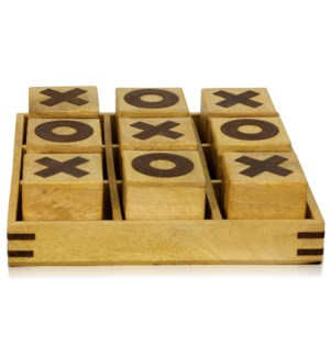 TIC-TAC-TOE | 12in w X 12in d X 3in ht | Natural Painted Wood 9 Piece Game Set with Tray