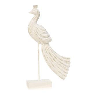 PEACEFUL PEACOCK I | 21in ht X 13in w X 4in d | Natural White Washed Wood Statue on Pedestal