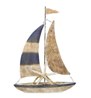 NATURAL SAILS | 25in ht X 19in w X 4in d | Natural Painted Wood Sail Boat Coastal Table Top Accessor