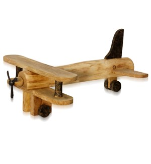 NATURAL BIPLANE | 6in ht X 15in w X 18in d | Natural Stained Wood Sculpture of a Plane