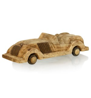 OLDTIMER AUTO | 4in ht X 15in w X 4in d | Natural Stained Wood Sculpture of an Antique Car