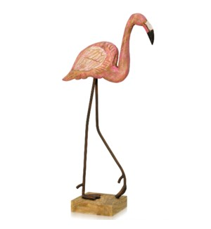 FLAMINGO STROLL | 23in ht X 9in w X 5in d | Natural Painted Wood & Metal Table Top Sculpture