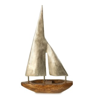 SMALL PEWTER SAILS | 16in ht X 10in w X 3in d | Natural Stained Wood Base Boat Sculpture with Pewter