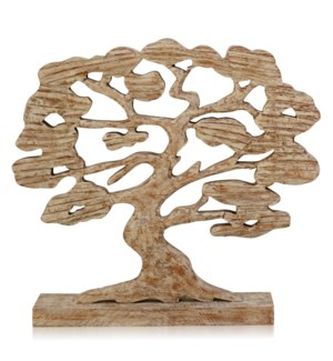 VINTAGE TREE OF LIFE | 20in ht X 22in w X 4in d | Natural Wood Carved Table Top Sculpture