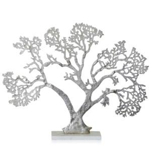 ALUMINUM METAL DECORATIVE TREE FIGURINE ON WHITE MARBLE BASE