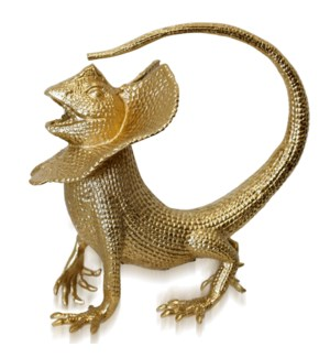 SATIN GOLD   Aluminum Metal Finished In Gold and Silver Decorative Lizard Figurine   11in w X 12in h