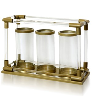 CLEAR GLASS & GOLD   Metal & Clear Glass Stand with Three Lantern Glass Candle Holders   8in w X 14i