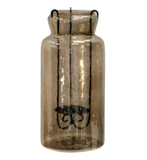 Hurricane Tea Light Jar | 19In Rippled Glass & Metal Drop Tea Light Candle
