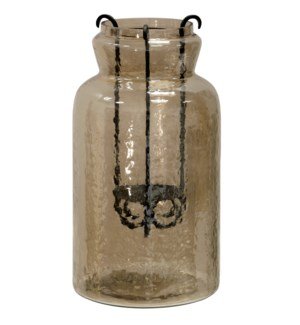 Hurricane Tea Light Jar | 15In Rippled Glass & Metal Drop Tea Light Candle Holder