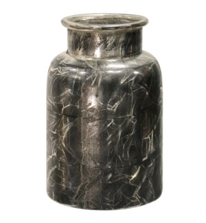 CHARCOAL GLASS | 8in X 6in X 13in | Frosted Glass Jar | Made in India