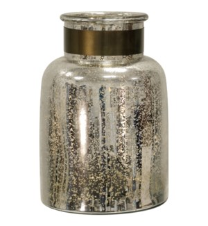 HURRICAN SILVER | 8in X 6in X 13in | Antique Glass with Metal Band Jar | Made in India