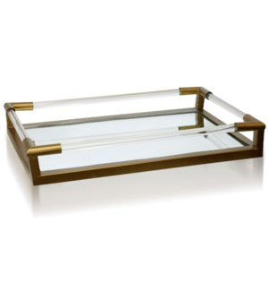 CLEAR GLASS & GOLD   Metal & Clear Glass Decorative Tray with Beveled Mirror Base   Large   15in w X