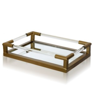 CLEAR GLASS & GOLD   Metal & Clear Glass Decorative Tray with Beveled Mirror Base   Small   11in w X