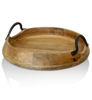 NATURAL ACACIA WOOD & IRON   Natural Wood with Iron Metal Round Decorative Tray   Large   13in w X 5