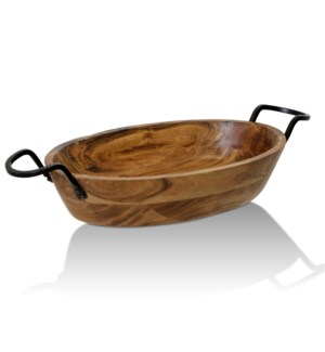 NATURAL ACACIA WOOD & IRON   Natural Wood with Iron Metal Oval Decorative Dish With Handles   Small