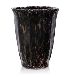 GINEVRA VASE | 15in X 11in | Opulent Amber and Black Swirled Italian Art Glass Vase | Made in Italy