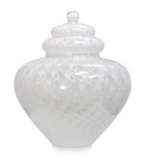 PANDORA VASE | 17in w X 18in ht X 17in d | White on White Swirl Murano Glass Jar With Lid