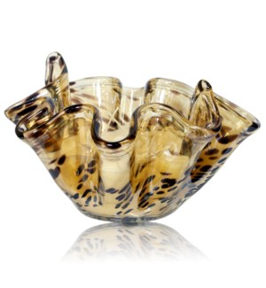 JAMES BOWL CANDLE | 14in w X 9in ht X 14 d | Large Murano Glass Bowl in Tortoiseshell filled with fr
