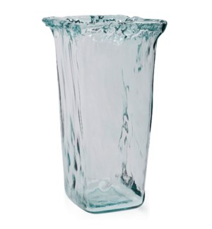 ARTISANA | 17in X 9in | Clear Square Recycled Spanish Glass Vase
